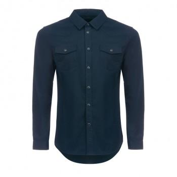 Рубашка мужская хлопок темно-синяя на кнопках