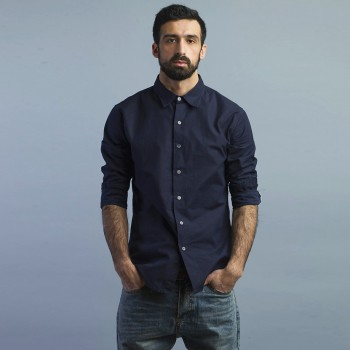 Рубашка темно-синяя хлопок
