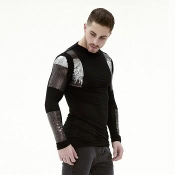 Мужская дизайнерская футболка с длинным рукавом с отделкой паетками