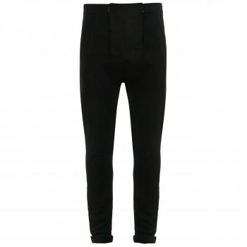 Дизайнерские брюки из плотного хлопка черные