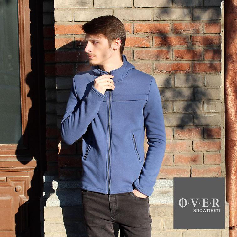Худи-куртка утепленная светло-синий цвет