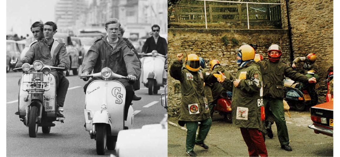 скутеры 60-х годов военных куртках