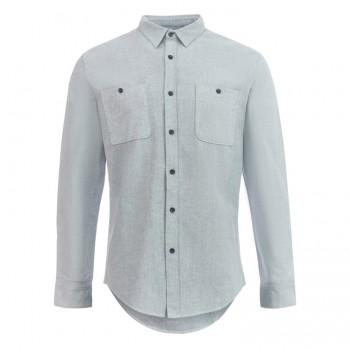 Рубашка приталенная (slim fit) светло-голубая хлопок-лён