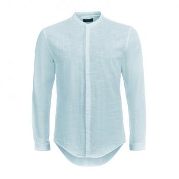 Рубашка slim-fit без воротника хлопок-лен светло голубая