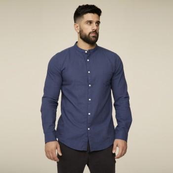 Рубашка без ворота темно-синяя хлопок-лен