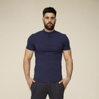 Футболка мужская хлопок эластан темно-синяя