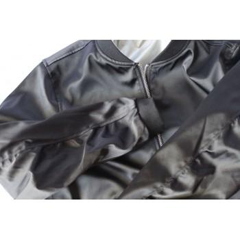 Бомбер двухсторонний (черный-серебристый)